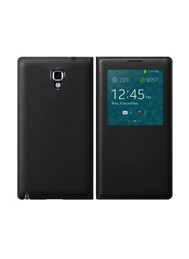 Microsonic View Cover Delux Kapaklı Kılıf Galaxy Note 3 Neo Akıllı Modlu Siyah Renkli